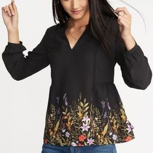 NWT Floral-Print Georgette Swing Blouse Small